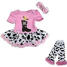 Ameda Baby Pink Cowgirl Boots Bodysuit Tutu Leg Warmers Set