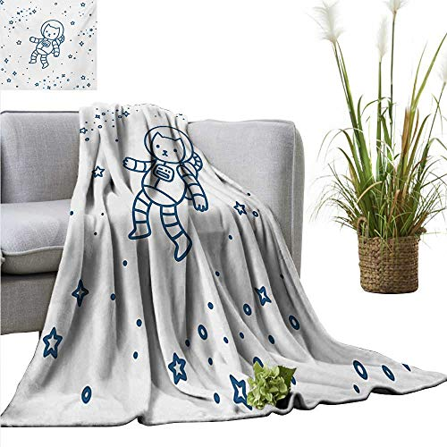 (homehot Kids Living Room/Bedroom Warm Blanket Cute Cartoon Astronaut Pioneer Cat Flying in Outer Space Doodle Style Constellation Anti-Static Throw 54