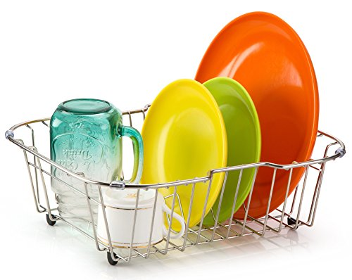 ipegtop Small Sink Dish Drying Rack with Rubber...