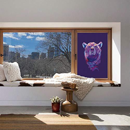 (YOLIYANA Stained Glass Window Film,Bear,for Bathroom Shower Door Heat Cotrol Anti UV,Abstract Portrait with Digital Brushstrokes Wildlife Mascot)