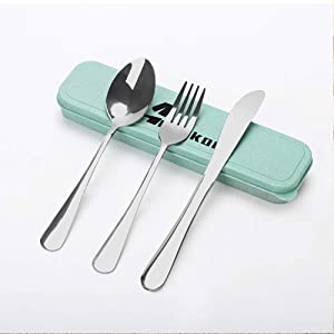 3 PCS Outdoor Fork Set - Portable Cutlery Set - Stainless Steel Fork Spoon Knife - Travel Spoon and Fork Set with Case - Lunch Box Accessories - For Home Office Travel Bento Box and Camping
