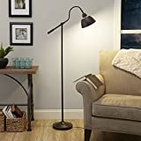 bulb for mitsubishi 60 inch tv - 60 Inch Classis Style Dome Shade Task Floor Lamp with Adjustable Arm & Bronze Finish For Cozy Reading Corner