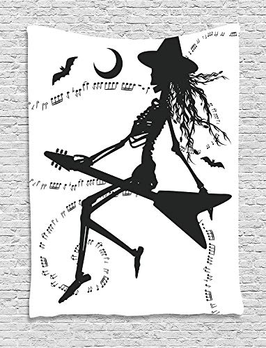 Tapestry Wall Hanging Witch Flying on Electric Guitar