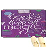 homecoco Book Non-Slip Standing Mat Books are Full of Magic Wording Printed on Purple Background with Objects of a Witch Multicolor 3D Digital Printing Mat W47 x L59 INCH
