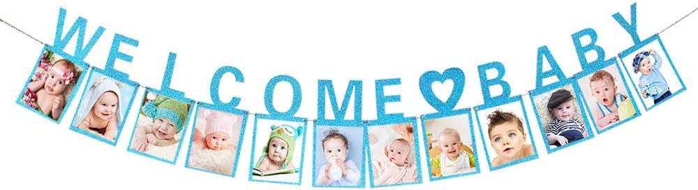 Blue Glitter Welcome Baby Banner Baby Shower, Gender Reveal, Oh Baby, Baby Announcement, Home Decorations Party Photo Banner Booth Props Decorations Supplies Sign
