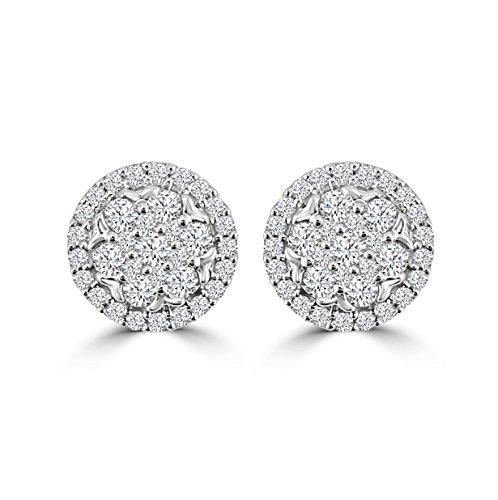 1/2 Ct Diamond Flower Earrings - 3