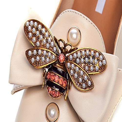 Pompes Simples Femmes Arc Chaussures De Du La Plat Brillant Chaussures Vêtements Talon 2Cm Carrée Tête Strass Pour L'abeille Hauteur Apricot Mode Habillées Décoration Femmes PqcA4twW