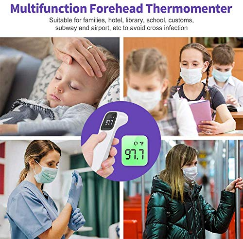 Forehead Thermometer for Adults – No Touch Digital Infrared Thermometer with Light Indicator for Fever – Medical Thermometer for Babies, Adults, Indoor and Outdoor Use