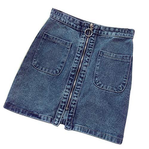 SMALLE_Pants Denim Skirt for Women,SMALLE◕‿◕ Women's Casual High Waist Zipper Front Denim Jean A-Line Short Skirt - Cams Torque High