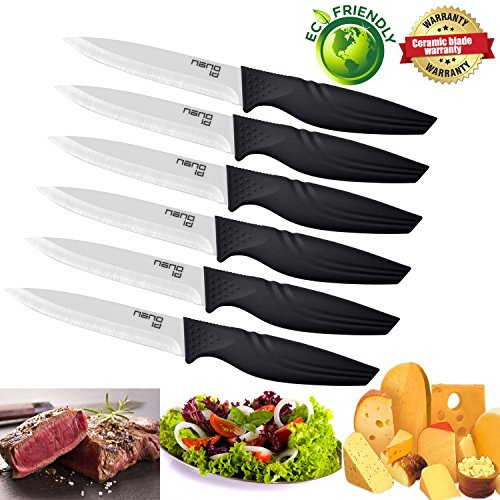 Steak Knives set of 6, Nano ID Ceramic Stake Knife Sharp Ceramic Knife Perfect Festival Present (black)
