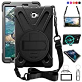T580 Case, Galaxy Tab A 10.1 (No Pen) Case, Shockproof High Impact Resistant Heavy Duty Armor Cover with Hands Strap Shoulder Belt for Samsung Tab A 10.1 SM-T580N/T585C Kids Students,Black