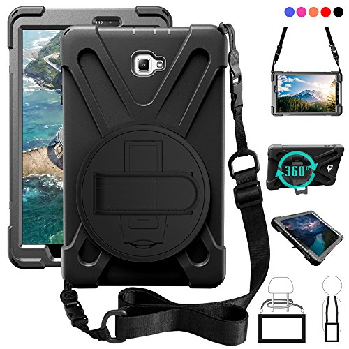 b A 10.1 (No Pen) Case, Shockproof High Impact Resistant Heavy Duty Armor Cover with Hands Strap Shoulder Belt for Samsung Tab A 10.1 SM-T580N/T585C Kids Students,Black ()
