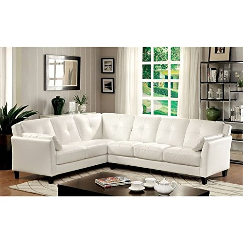 Illintsi Contemporary Style Sectional Sofa Upholstered in White Leatherette