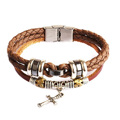 Ruinuo Brown Leather and Rope Bracelets Cross and Leaf Style Universal Cool Fashion Punk Multi-layer Steel Button Simplicity (Brown - cross)