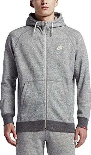 Nike Mens Sportswear Legacy Hooded Sweatshirt Carbon Heather/Sail 805057-091 Size Medium