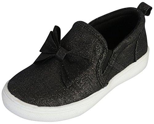 Nicole Miller New York Girl\'s Slip-On Canvas Sneaker with Glitter Bow, Black, 8 M US Toddler'