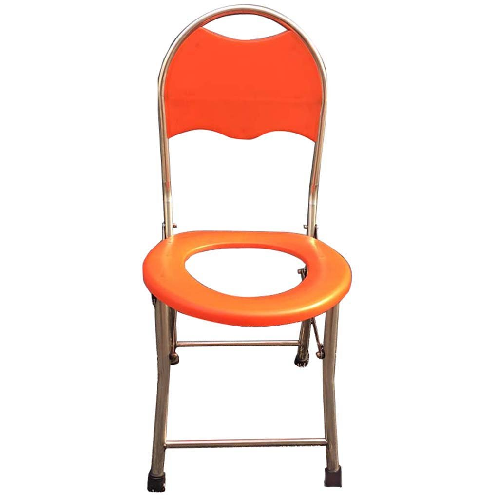 トイレ椅子ステンレススチール折りたたみポータブルトイレシート高齢者用可動式便座椅子椅子オレンジ B07CXQFQD9