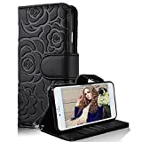 Samsung Galaxy S6 Wallet Case, Bonice Camellia Flower PU Leather Elegant Flip Folio Stand Case Anti-scratch Skin Cover Pouch with Card Slots Magnetic Closure + Detachable Wrist Strap - Black