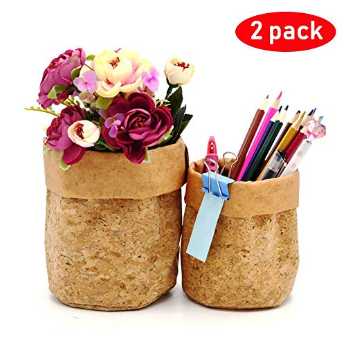 Pencil Pen Holder Cup for Desk Organizer Coin Purse Card Phone Washable Paper | Cork Wood ECO (Cork: Holder Set)