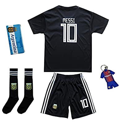 KID BOX 2018 Argentina Lionel Messi #10 Away Soccer Kids Jersey & Short Set Youth Sizes