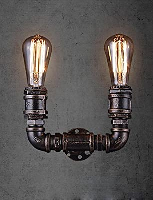 Fsd 2 Lights Vintage Metal Water Pipe Wall Lamp With Edison Bulb , 110-120v Wall sconce