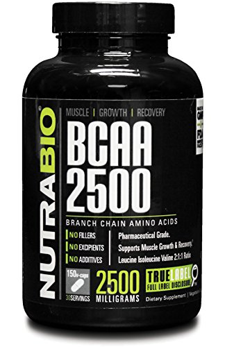 NutraBio BCAA 2500 150 Vegetable Capsules (Branched Chain Amino Acids)