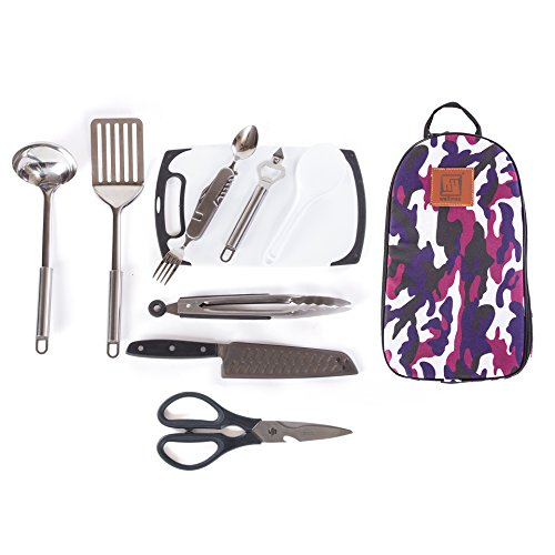 Wellmax Camping Cookware Set | Become an Outdoor Chef and Camp in comfort | Premium Cooking Utensils and Dinnerware Kit | Portable and Lightweight Utensil Organizer | 10 Piece Cutlery Holder
