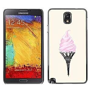 Helado de la torre Eifel de París Arte Rosa Francia - Metal de aluminio y de plástico duro Caja del teléfono - Negro - Samsung Note 3 N9000