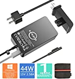 Surface Pro Charger, Surface Book Charger [UL Certified Updated Version] 44W 15V 2.58A Power Supply Compatible Microsoft Surface Pro 6 Pro 5 Pro 4 Pro 3 Surface Laptop 1/2 Surface Go Include Travel Case