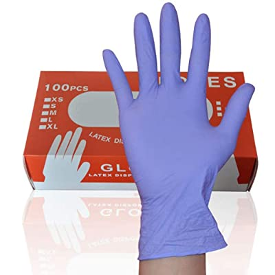 HonpraD Disposable Nitrile Gloves Box of 100PC Powder Free Latex Free Exam Gloves for Adult Cleaning Shopping Work: Clothing