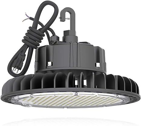Hyperlite 5000k Led Ufo High Bay Lights 100w Coollight 14 000lm 1 10v Dimmable 5 Cable With 110v Plug Hanging Hook Safe Rope Ul Dlc Approved For Barn