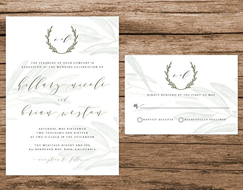 Rustic Tuscan Wedding Invitation, Watercolor Olive Branches, Vineyard Wedding by Alexa Nelson Prints