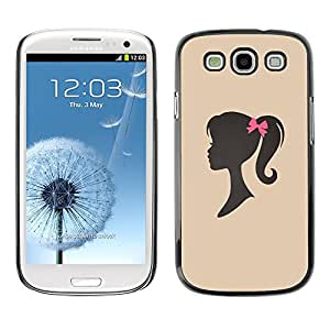 Impact Case Cover with Art Pattern Designs FOR Samsung Galaxy S3 Girl Silhouette Bow Pink Hairdresser Beige Betty shop