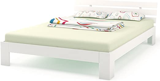 Serina - Cama doble madera (140 x 200 cm, madera maciza, estructura de cama con somier y colchón con 7 zonas), color blanco