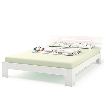 Doppelbett Holz 160x200 Cm Massivholz Bett Bettgestell Inkl Lattenrost Und 7 Zonen Matratze H3 Weiß 160x200