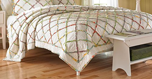 Laura Ashley Ruffled Garden Cotton Quilt, Full/Queen - Garden Quilt Set