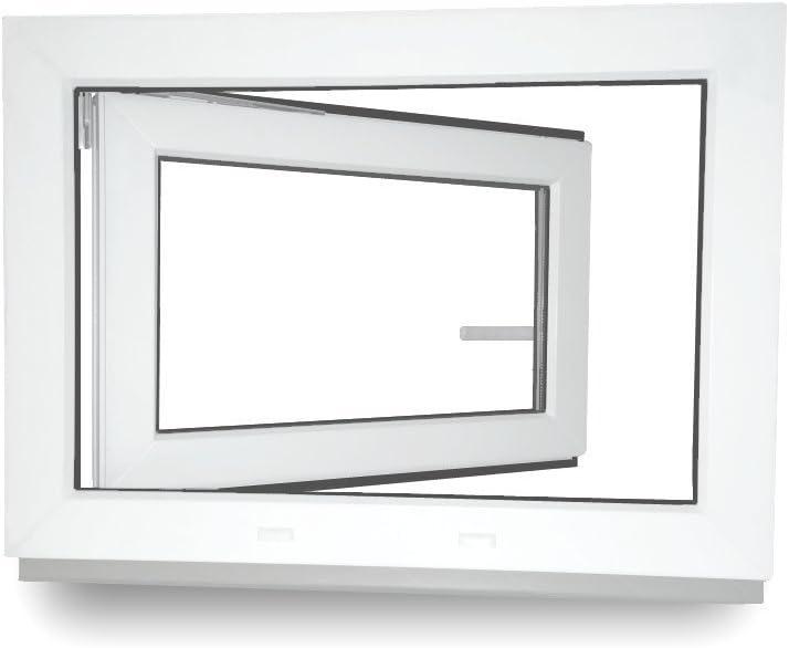 Lagerware BxH: 60X85 cm 2-Fach Verglasung Kunststoff DIN Rechts Kellerfenster wei/ß Wunschma/ße ohne Aufpreis Fenster