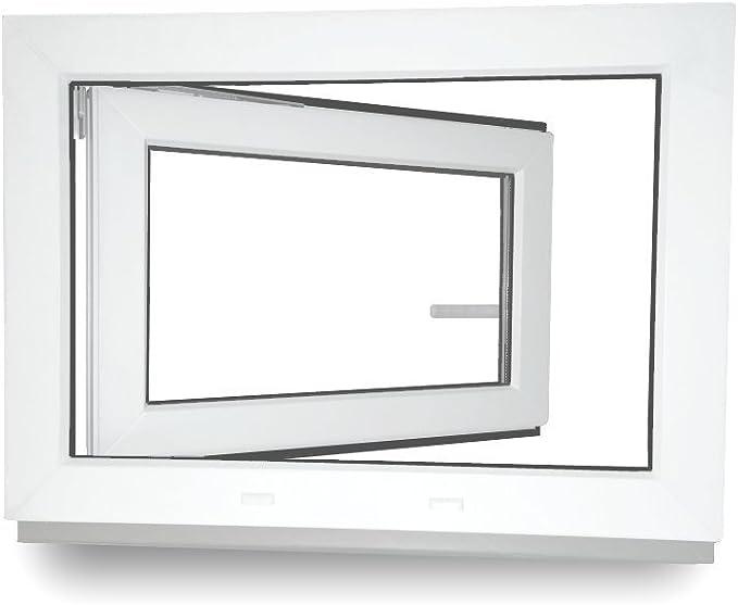 Kunststoff LAGERWARE 60mm Profil verschiedene Ma/ße Fenster Kellerfenster BxH: 60x50 cm 2-fach-Verglasung DIN links wei/ß