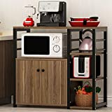 Tribesigns Microwave Oven Stand with Storage, Kitchen Baker's Rack Utility Storage Cart Organizer with Cabinet and 3-Tier Shelves