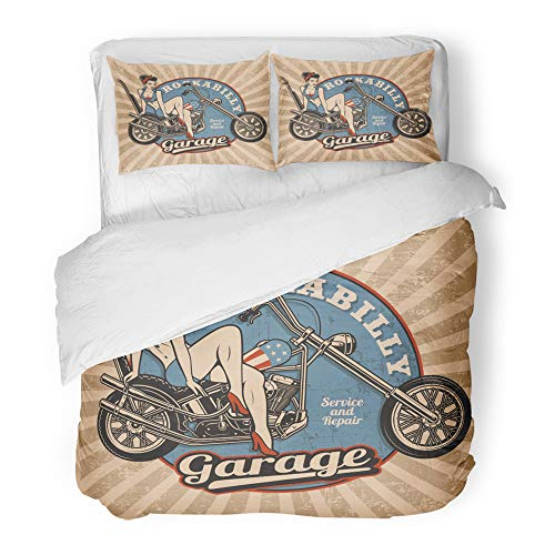 Emvency Decor Duvet Cover Set Twin Size Pin Up Girl on Motorcycle Monochrome Vintage White All Text are The Separate 3 Piece Brushed Microfiber Fabric Print Bedding Set Cover]()