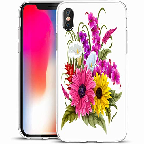 "VivYES Protective Phone Case Design for iPhone X/XS 5.8"",Botanical Sunflower Vintage Flower Bouquet Anniversary Nature Orchid Romantic Design Blossom,Anti-Scratch Soft Rubber Gel/TPU"