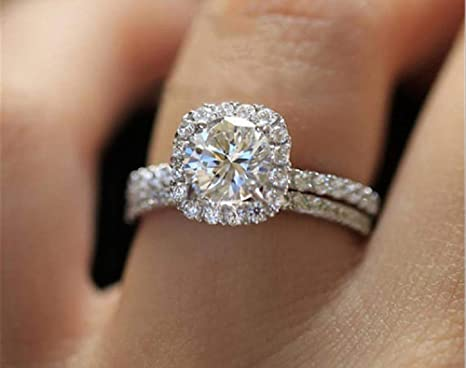 ROSE JEWELRY Luxury Women Round Cut White Sapphire 925 Silver Ring Size 6-10 9