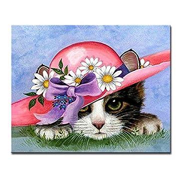 Gatos azules Diy Pintura Digital Por Números Kits Dibujo Animales de Dibujos Animados Óleo imágenes para colorear Gatito En Lienzo Inicio Decoración de la ...