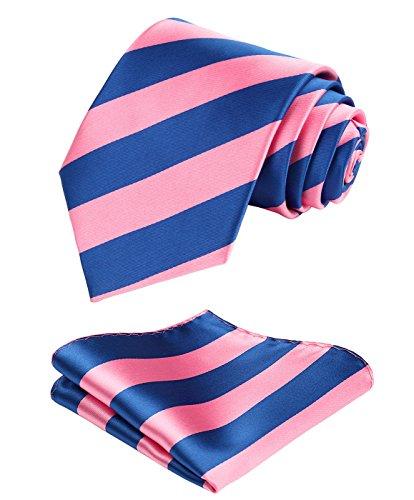 Enmain Stripe Jacquard Woven Mens Wedding Silk Tie Pocket Square Necktie Set