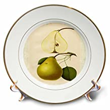 3dRose cp_61778_1 Antique Drawing of a Pear Porcelain Plate, 8-Inch