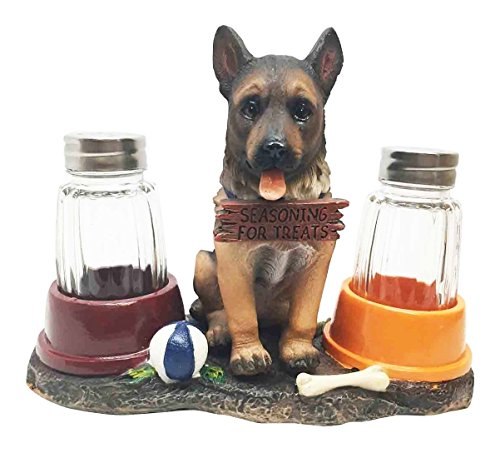 Adorable Canine Patrol German Shepherd Puppy Dog Salt and Pepper Shaker Set with Dog Treat Bowls Figurine Stand Holder Decor Sculpture as Kitchen Decor Table Centerpieces or Spice Racks - Shepherd German Sculpture
