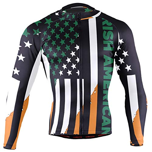 DERLONKAJE Irish Americans Flag Men's Cycling Jersey Long Sleeve Breathable Biking Shirts Gear Style