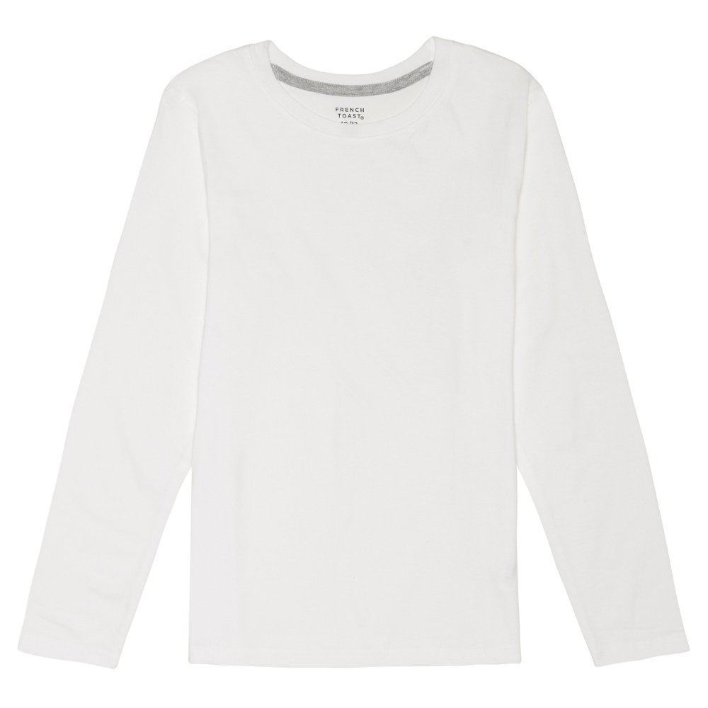 French Toast Boys Long Sleeve Crewneck Tee T-Shirt, White L (10/12)