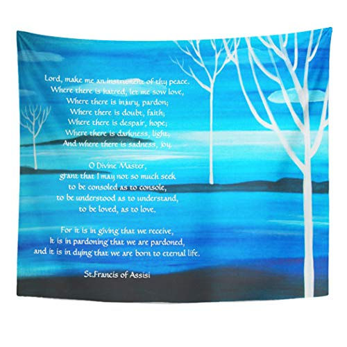 Semtomn Tapestry Artwork Wall Hanging Poem Simple Prayer by St Francis of Assisi Inspirational 60x80 Inches Tapestries Mattress Tablecloth Curtain Home Decor Print -