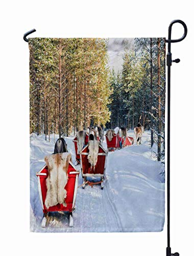 Shorping Welcome Garden Flag, 12x18Inch March Reindeer Sledge Safari Ride in Winter Snow Farm Christmas The North Arctic Pole Finland 2017: for Holiday and Seasonal Double-Sided Printing Yards Flags ()